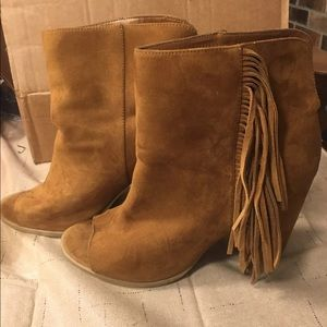 DV By Dolce Vita Brown Suede Fringe Boots